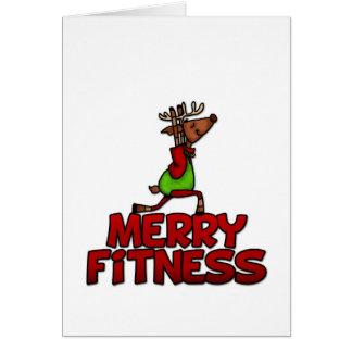 Merry Fitness - Yoga Reindeer Half Warrior Posture Greeting Card