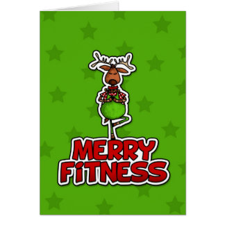Merry Fitness - Yoga - Reindeer in Tree Posture Greeting Card