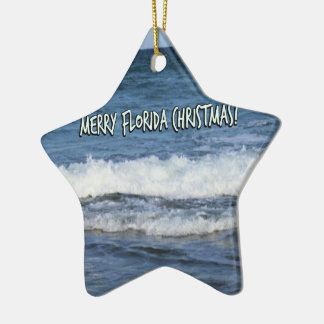 Merry Florida Christmas Over The Ocean Christmas Ornament