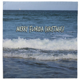 Merry Florida Christmas Over The Ocean Napkin