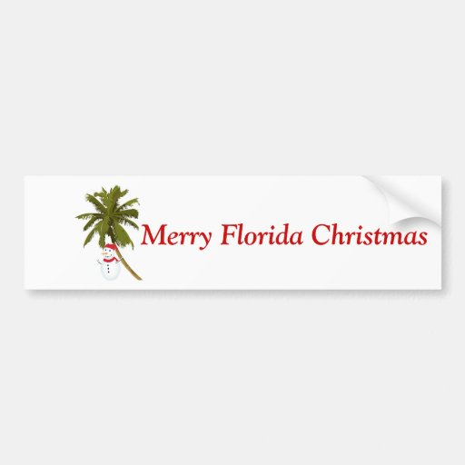 Merry Florida Christmas, snowman under palm Bumper Stickers