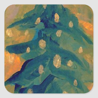 Merry Folk Art Christmas Tree Holiday Decor Square Sticker