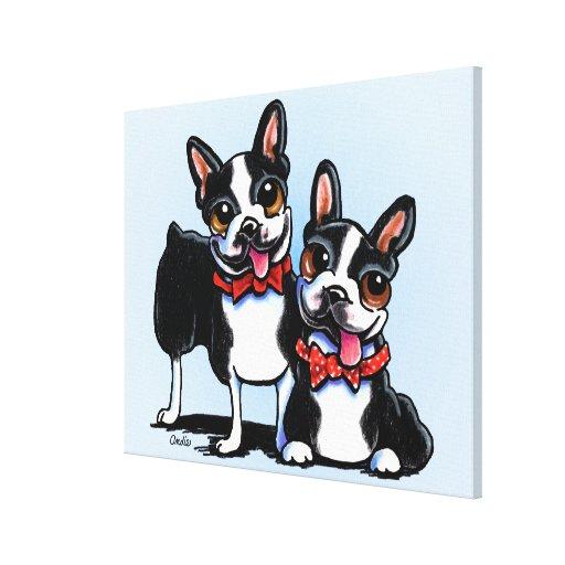 Merry Gentlemen Boston Terriers Off-Leash Art™ Canvas Print