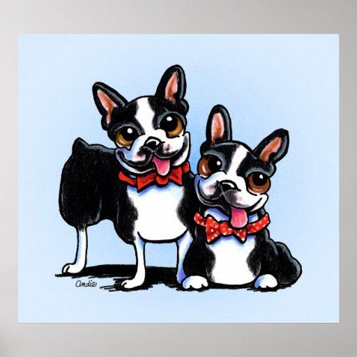 Merry Gentlemen Boston Terriers Off-Leash Art™ Posters