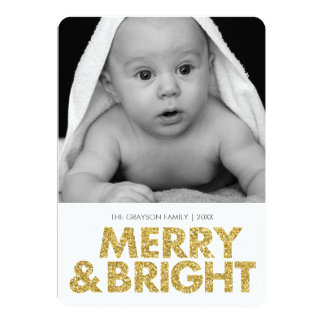 Merry glitter-look photo card - rounded corners