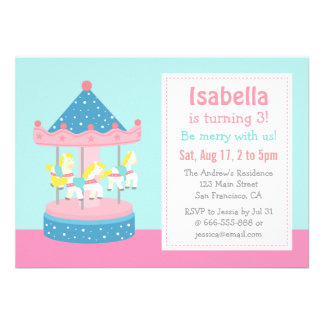 Merry Go Round Carousel Birthday Party Invitation Invite