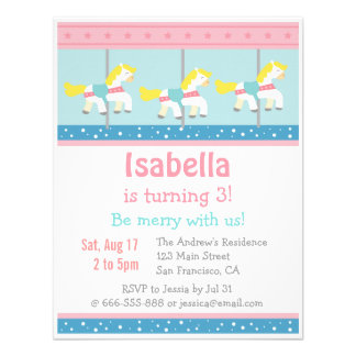 Merry Go Round Carousel Birthday Party Invitation Personalized Invites