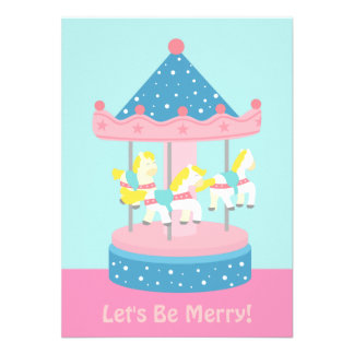 Merry Go Round Carousel Birthday Party Invitation Announcements