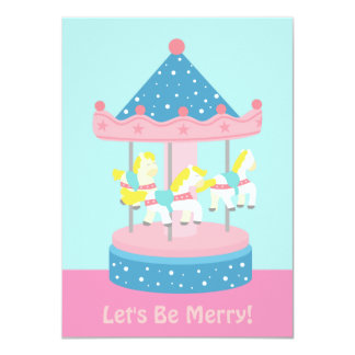 Merry Go Round, Carousel Birthday Party Invitation