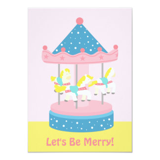 Merry Go Round Carousel Girls Birthday Party Card
