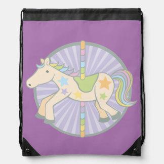 Merry-Go-Round Carousel Pony in Purple Drawstring Bag