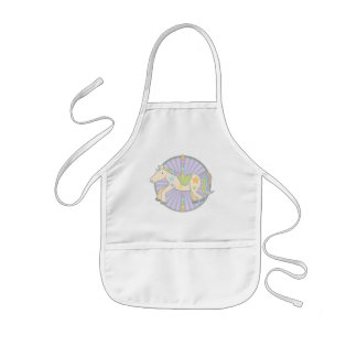 Merry-Go-Round Carousel Pony in Purple Kids Apron
