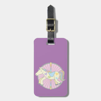 Merry-Go-Round Carousel Pony in Purple Luggage Tag