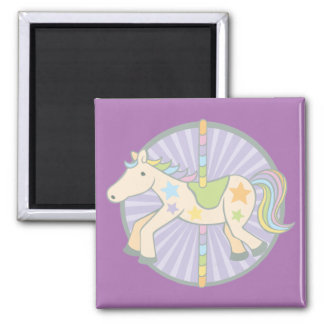 Merry-Go-Round Carousel Pony in Purple Square Magnet