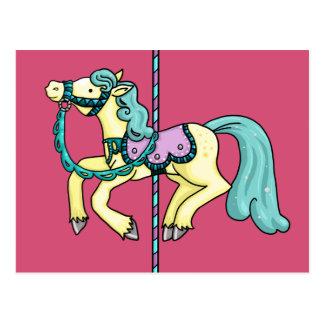 Merry Go Round carousel Pony Postcard