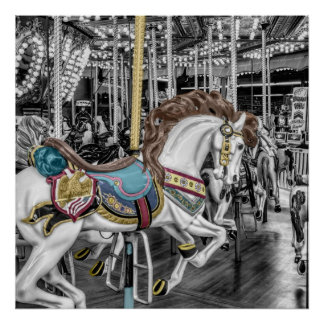Merry Go Round Carousel Poster