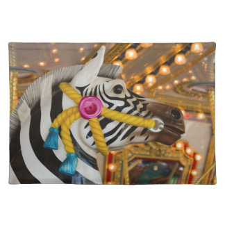 Merry-Go-Round Carousel Ride Zebra Horse Photo Placemat
