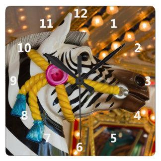 Merry-Go-Round Carousel Ride Zebra Horse Square Wall Clock