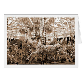 Merry-go-round / Carousel - Sepia Greeting Card