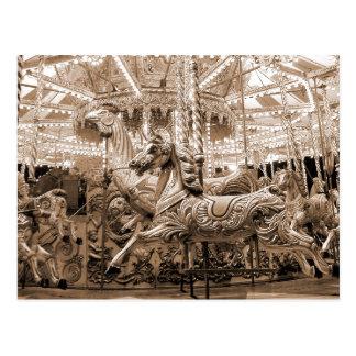 Merry-go-round / Carousel - Sepia Postcards