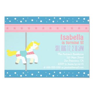 Merry Go Round, Girl Carousel Birthday Party 11 Cm X 16 Cm Invitation Card