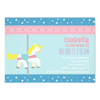 Merry Go Round, Girl Carousel Birthday Party 4.5x6.25 Paper Invitation Card