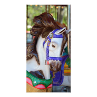 Merry-Go-Round horse Personalized Photo Card