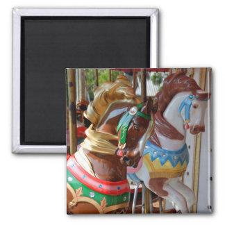 Merry-Go-Round Horses Square Magnet