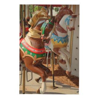 Merry Go Round Horses Wood Canvas