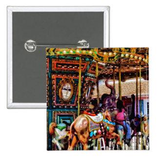 Merry Go Round With Elephants 15 Cm Square Badge