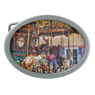 Merry Go Round With Elephants Belt Buckle