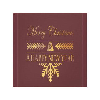 Merry Gold Christmas wall canvas decoration Gallery Wrap Canvas