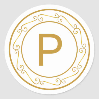 Merry Gold Tone Monogram Initial Envelope Seal Round Sticker