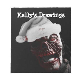 Merry Gory Halloween Zombie Santa Memo Pad