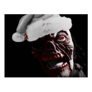 Merry Gory Halloween Zombie Santa Postcard