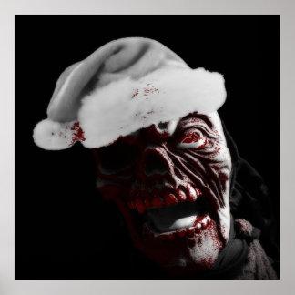 Merry Gory Halloween Zombie Santa Poster