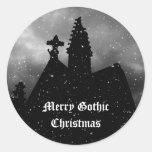 Merry Gothic Christmas stickers Round Sticker