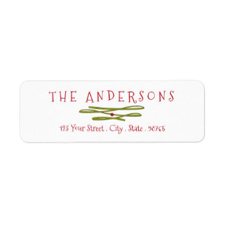 Merry Greetings Green Banner Return Address Return Address Label