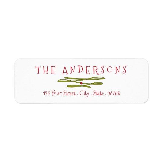 Merry Greetings Green Banner Return Address Return Address Label