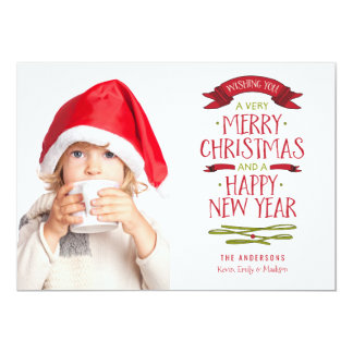 Merry Greetings Red Banner Holiday Photo Card 13 Cm X 18 Cm Invitation Card