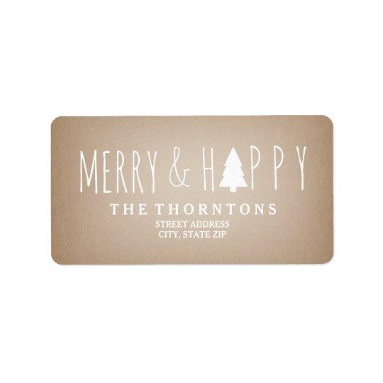 Merry & Happy Cardstock Christmas Tree Address Address Label
