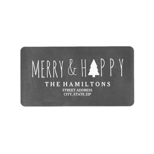 Merry & Happy Chalkboard Christmas Tree Address Label