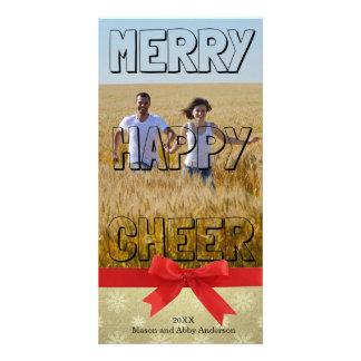 Merry Happy Cheer Black Block - Photo Card