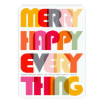 Merry Happy Everything Colourful Holiday Greetings Personalised Invite