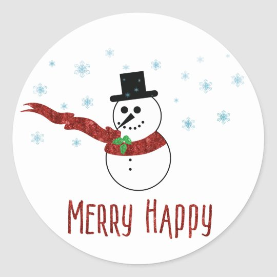 Merry Happy Snowman with Red Scarf Classic Round Sticker