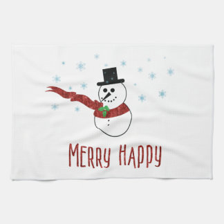 Merry Happy Snowman with Red Scarf Tea Towel