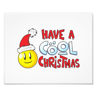 Merry Have a Cool Christmas Invitation Stamp Label Photographic Print