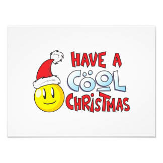 Merry Have a Cool Christmas Invitation Stamp Label Photo Print