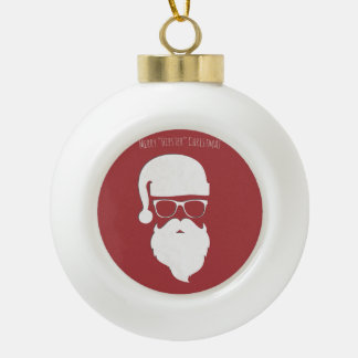 Merry Hipster Christmas Ceramic Ball Christmas Ornament