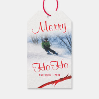 Merry Ho Ho Snowy Stylized Photo Template Gift Tags